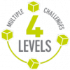 Create cubes and constructions in 4 levels. This multilevel challenge enable to play according to your personal creative approach and abilities.
